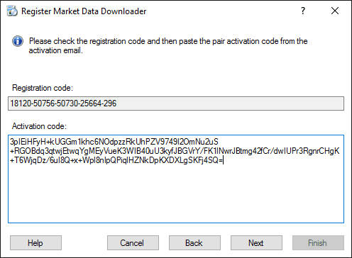 Market Data Downloader Registration - Activation