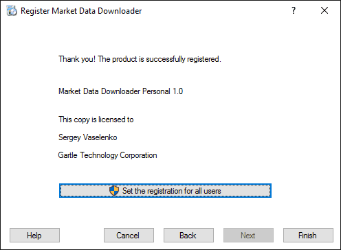 Market Data Downloader Registration - Final step