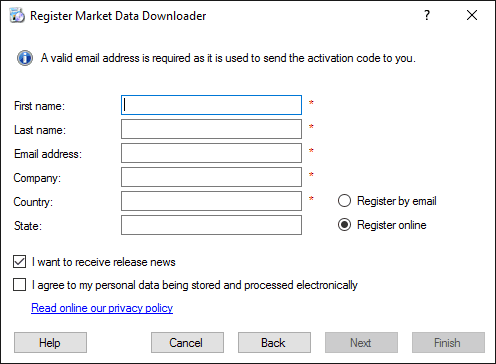 Market Data Downloader Registration - Fill personal data