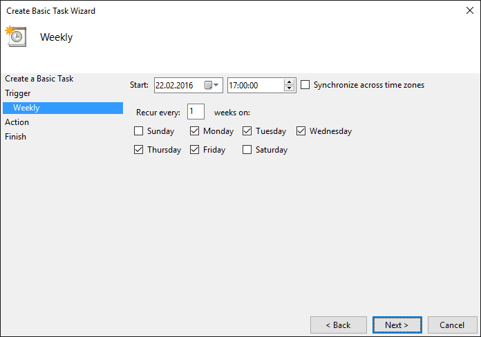 Specify time and days. Click Next.