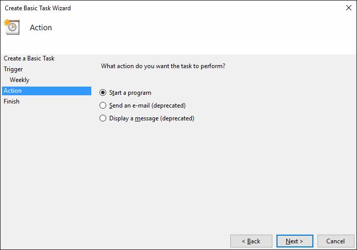 Select Start a program. Click Next.