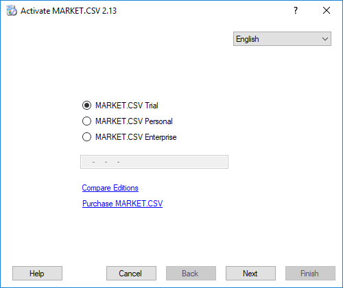 MARKET.CSV Registration - Select the edition