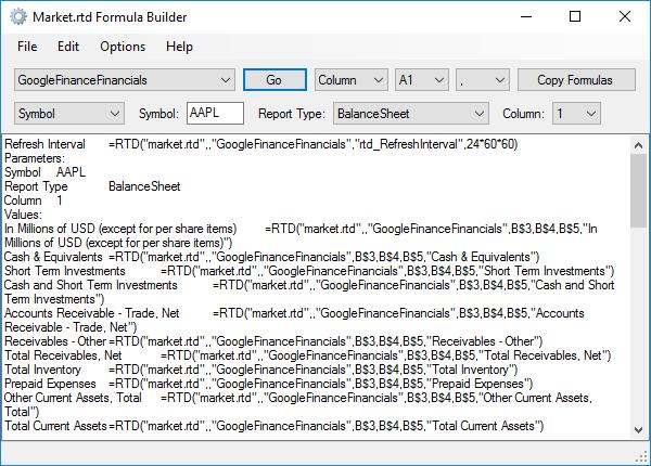 Market.rtd Formula Builder - Formulas