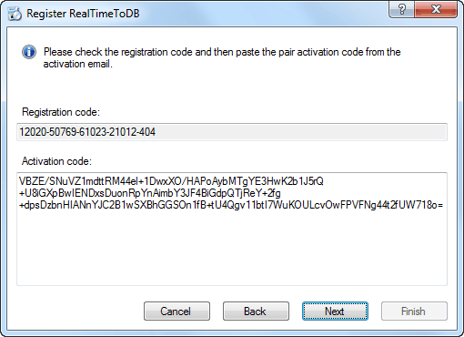 RealTimeToDB Registration - Activation