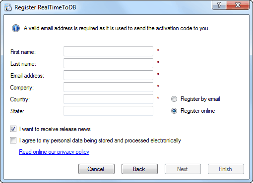 RealTimeToDB Registration - Fill personal data