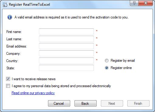 RealTimeToExcel Registration - Fill personal data