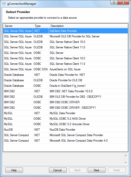 Connection Manager - Selecting database connection provider