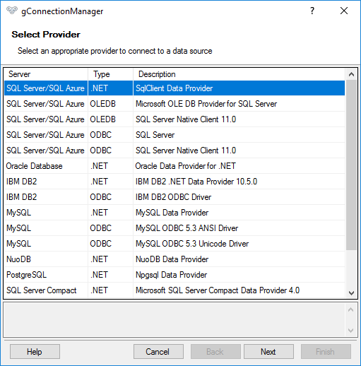 gConnectionManager - Selecting a database provider
