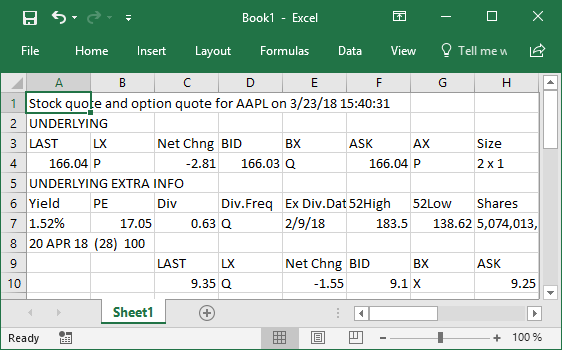 Example of real-time Thinkorswim data in Microsoft Excel