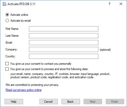 RTD.DB Registration - Fill personal data