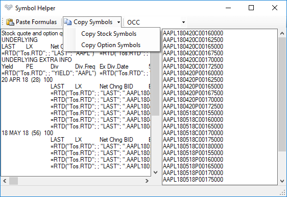 Example of copying stock and option symbols