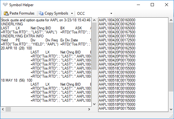 Example of extracting option symbols in the OCC format