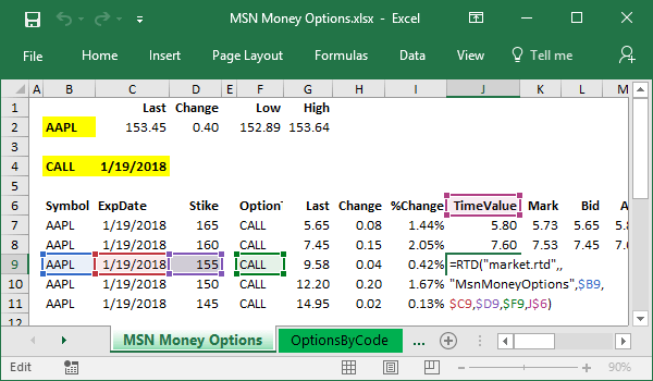 kb option chains from msn money to excel