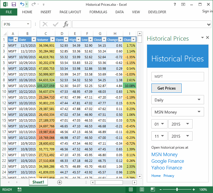 Historical Prices Add-in for Microsoft Excel
